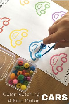 FREE printable car themed activity for preschoolers to practice color recognition and fine motor skills. Makes a great busy bag or quiet time activity.
