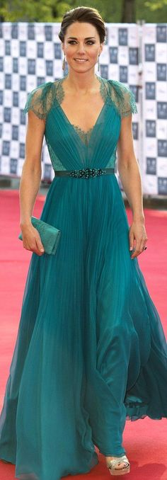 Cost: £3,335 Kate is stunning when she goes slightly over the top, rather than narrow and severe. This Jenny Packham gown, £2,875, in emerald green was worn to the Olympic concert in February. I find the lace panel at the back deliciously daring, the hair neat and grown up. Her Jimmy Choos are £460