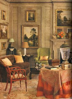 more formal use of pickled cypress paneling cover the living room walls in Mississippi home by Richard Keith Langham. Classic Interior, Traditional Interior, Mississippi, Living Area, Living Spaces, Living Rooms, English Country Style, Orange Rugs, Design Studio