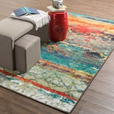Mohawk Home Strata Eroded Multicolor Rug (5' x 8') | Overstock.com Shopping - The Best Deals on 5x8 - 6x9 Rugs