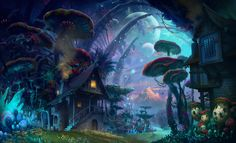 Colorful and creative worlds created in children minds in their dreams images and pictures. kids imagine super power worlds with beautiful creatures in fantasy world of flowers and trees. Fantasy Places, Fantasy World, Fantasy House, Art Environnemental, Fantasy Forest, Magic Forest, Fantasy Kunst, Landscape Wallpaper, Environment Design