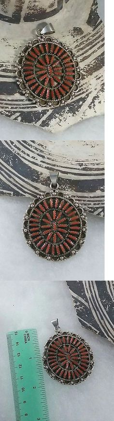 Unsigned Artisan Jewelry 166733: Native American Sterling Coral Needle Point Pendant -> BUY IT NOW ONLY: $41.95 on eBay!