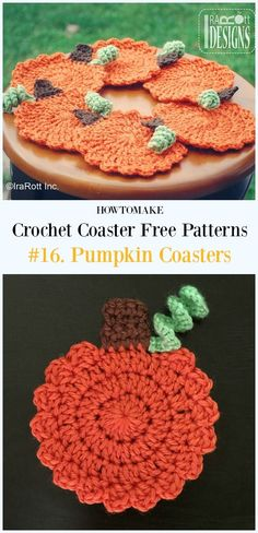 Crochet Tea Time Pumpkin Coasters Free Pattern - Easy #Crochet Coaster Free Patterns
