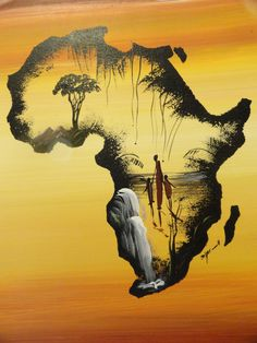 Beautiful, hand-painted depiction of Africa. The main scene is set within the outline of Africa and consists of a waterfall, African family, and trees!