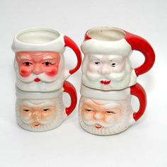 Set Of 4 Vintage Santa Claus Mugs Christmas by tipsyvintage, $10.50