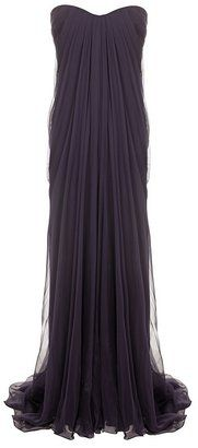 ShopStyle: Deep Purple Draped Bustier Gown