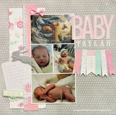 Baby girl scrapbook layout created by @Scrappin' 2LittlePrincesses using @Pebbles Inc. Special Delivery collection #scrapbooking #baby #girl #babyscrapbooks #scrapbooking101