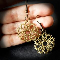 Old gold lace earrings / lace jewelry / Golden lace by Decoromana, £68.00