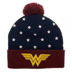 c8c4ebdec7d602 DC Comics Wonder Woman Gold Embroidered Logo Navy Red Pom Knit Cuff Beanie  for sale online | eBay