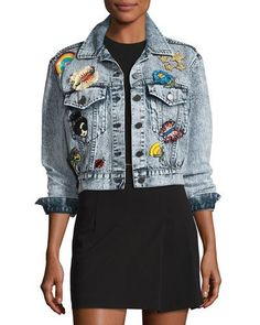 TUYPF Alice + Olivia Chloe Cropped Denim Jacket with Patches, Light Blue