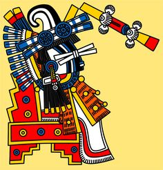 Itztlacoliuhqui: 'Curved Point of Obsidian' - 'Knife Eye Bundle'. God of frost, ice, cold, winter, sin, punishment and human misery. Also god of objectivity and blindfolded justice. Variant of Tezcatlipoca and associated with the night and the north.