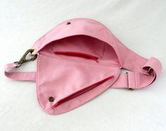 Fanny Pack in Soft Pink Cotton Duck Canvas Belt by rocksandsalt Back Bag, Hip Bag, Handmade Handbags, Cloth Bags, Bag Making, Fanny Pack, Pink And Gold, Belt, Gold Water