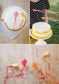 Mini Kite Cake Toppers / love the simple cake frosting Diy Cake Topper, Cake Topper Tutorial, Cake Toppers, Kite Party, Cumpleaños Diy, Dessert Oreo, Bolo Cake, Crafts For Kids, Diy Crafts