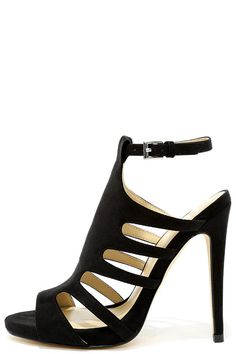 Extra Spicy Black Suede Caged Heels at Lulus.com!