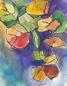 Art Painting Watercolor SeaGrape Tropical Foliage by vhmckenzie Gouache Painting, Acrylic Painting Canvas, Painting & Drawing, Watercolor Paintings, Watercolors, Paintings Famous, Original Paintings, Art Paintings, Tropical Art
