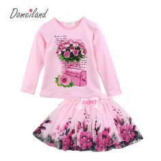 5eb1f2aba37 New Fashion 2017 domeiland Outfits Sets For Cute Kids Girl Print Floral  Long Sleeve Shirts Tops+Tutu Skirts Sets Bow Clothes-in Clothing Sets from  Mother ...
