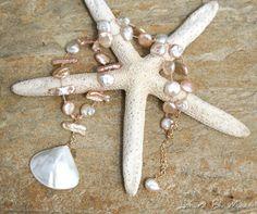 Almost Pink Beachy Boho Brides Necklace by JonaraBluMauiJewelry, $62.00