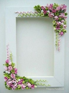 fimo - SK: What a cute idea to enhance SBs. Or redo thrift store frames. Just thought about doing a Carousel animal SB…Floral frame ~ lots of work, but simply gorgeous!Blumen Polymer Clay I love the spirals!Beautiful pink and green floral photo or Polymer Clay Kunst, Fimo Clay, Polymer Clay Projects, Polymer Clay Jewelry, Quilled Creations, Polymer Clay Creations, Play Clay, Polymer Clay Flowers, Clay Figures