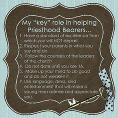 My key role in helping Priesthood Bearers...