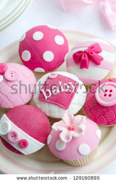 Baby shower cupcakes by RuthBlack. Cupcakes decorated for a baby shower Baby Cakes, Cupcakes Baby Shower Niño, Décoration Baby Shower, Gateau Baby Shower, Girl Shower, Baby Cupcake, Deco Cupcake, Baby Girl Cupcakes, Elephant Cake Pops