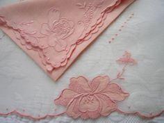 12pc Set Vintage Madeira Roses Linen Organdy 6 Placemats 6 Napkins
