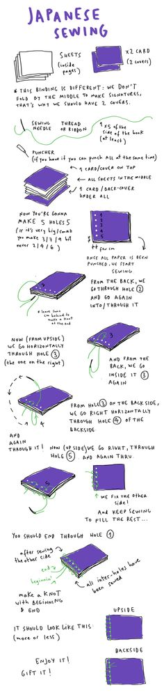 bookbinding instructions japanese sewing merge leon