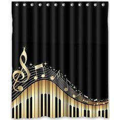 Black Shower Curtains, Bathroom Shower Curtains, Fabric Shower Curtains, Net Curtains, Bathroom Stuff, Curtains The Musical, Music Bedroom, Shower Curtain Sizes, Piano Keys