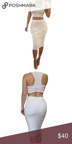 "Two piece bodycon dress bandage dress Size Details   S: bust:28.3"", waist:24.4"", hip:29.1"", top length:12.2"", skirt length:25.5""  M: bust:29.9"", waist:26.1"", hip:30.8"", top length:12.6"", skirt length:26""  L: bust:31.5"", waist:27.6"", hip:32.3"", top length:13"", skirt length:26.4"" Dresses Midi"
