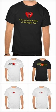 Heart Attack Mens and Unisex T-shirts. A collection of mens and unisex T-shirts to help educate and make people aware about Cardiovascular Disease (CVD) and Heart Attacks using promotional aids such as those listed here.  Click on photo to view item then click on item to see how to purchase that item.   #diabetes #diabetic #t2diabetes #t1diabetes #heartattack #cvd #cardiovasculardisease #hba1c #a1c #zipperclub #sca #suddencardiacarrest #Tshirt #zazzle