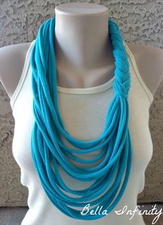 Bella Infinity Braided Scarf Up-Cycled Jersey Fabric Teal Turquoise Colorful Boho Chic Fun Design. $20.00, via Etsy.