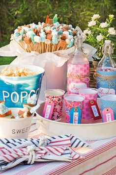 Party sweets idea...how cute are the candies, marshmallows and caramels on the end of the skewers