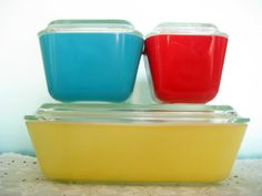 PYREX REFRIGERATOR DISHES Red Yellow Blue Baking Glass Pans & Lids 3 Set Square Colorful Rectangle Small Kitchen Container Vintage 50s 60s on Etsy, $34.99