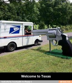 Gun mailbox in Texas.I HOPE YOU'LL FOLLOW ANY OF MY 5 GREAT BOARDS CONCERNING THE POST OFFICE MAILMEN VEHICLES MAILBOXES AND OTHER THINGS