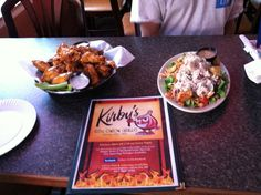 Kirby's Red Onion Grille Ocean City, Maryland Wings with Old Goat Sauce and  Tri Salad (chicken, shrimp, egg)