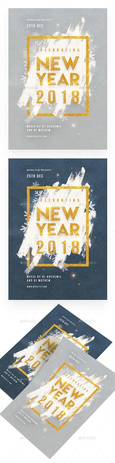 2018 New Year Celebration Flyer Template PSD #download #nye