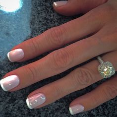 French manicure with blush pink and just a touch of rhinestone nail art. Perfect wedding nails!