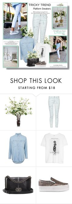 """""""Tricky Trend: Platform Sneakers!!"""" by lilly-2711 ❤ liked on Polyvore featuring Lux-Art Silks, French Connection, Topshop, MANGO, Chanel, Jeffrey Campbell and WALL"""