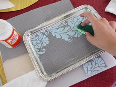 TRAYS :: DIY Vanity Tray Tutorial :: Use a tray from the 99c Store, scrapbook paper & some Mod Podge..that's it! | #weheartthis