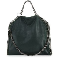 Stella McCartney Falabella Fold-Over Tote Bag ($1,265) ❤ liked on Polyvore featuring bags, handbags, tote bags, dark green, top handle handbags, chain strap purse, fold over handbag, logo tote bags and foldover handbags