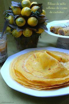 Con sabor a canela: Filloas de millo rellenas de crema de castañas/con receta.