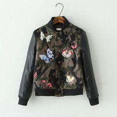 #clot #одежда #coats #women #одежда #бомбер #женщинам #модно #fashion Камуфляжный бомбер с бабочками Подробнее: http://ali.pub/imft3