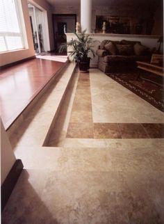 Beautiful living room with Authentic Durango Veracruz & Authentic Durango Noche travertine floor tile. Call 602-438-1001 today to get yours!