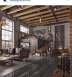 Here are 40 of our best picks for most beautiful loft living spaces! Read what is a loft apartment and loft style. Get ideas for your loft homes. Loft Interior, Industrial Interior Design, Vintage Industrial Furniture, Industrial Interiors, Home Interior Design, Modern Interiors, Interior Livingroom, Interior Modern, Design Salon