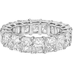 Radiant-cut Diamond Platinum Eternity Band ($32,500) ❤ liked on Polyvore featuring jewelry, rings, aneis, multiple, platinum jewellery, radiant cut diamond rings, diamond eternity rings, band rings and diamond band ring