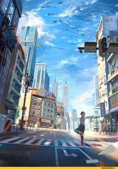 Anime scenery art, city, girl animeart-city аниме пейзажи, и Manga Drawing, Manga Art, Manga Anime, Sky Anime, Fantasy Anime, Fantasy Art, Japon Illustration, Anime Scenery Wallpaper, Sunset Wallpaper