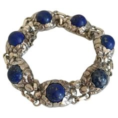 Georg Jensen Sterling Silver Bracelet #57B with Lapis Lazuli from 1945-1951