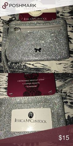 Jessica McClintock Silver Glitter Change Purse NWT Keep your photo ID or Commuter Pass , Some Change etc in this little glam Silver Metallic Pouch New Jessica McClintock Bags Wallets