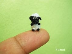 Cute Miniature Sheep - Micro Crochet The Fat Black Shaun Sheep - Made to Order via Etsy.