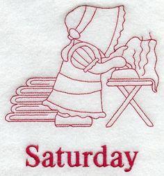 Sunbonnet Sue on Saturday (Redwork)