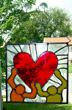 86453599974 Stained Glass Heart Panel in the Haring Style by PrettyNeatGlass